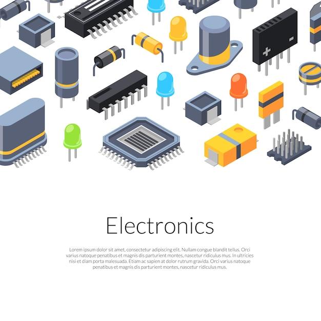 等尺性マイクロチップと電子部品のアイコン Premiumベクター