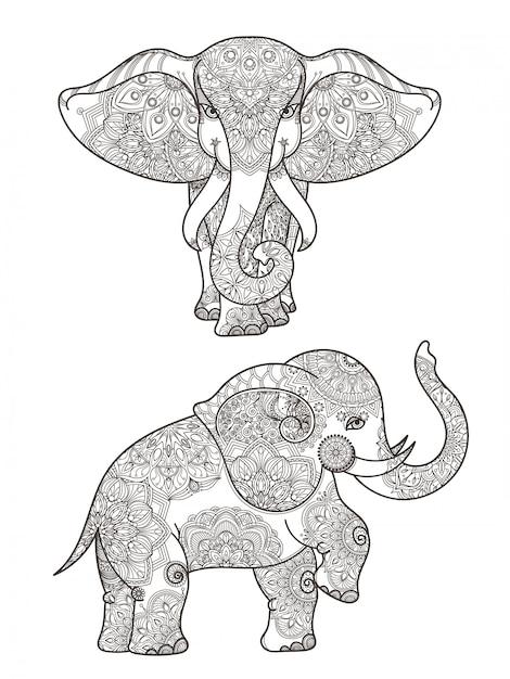 マンダラと象のイラストベクター装飾。象の民族パターンマンダラ装飾 Premiumベクター