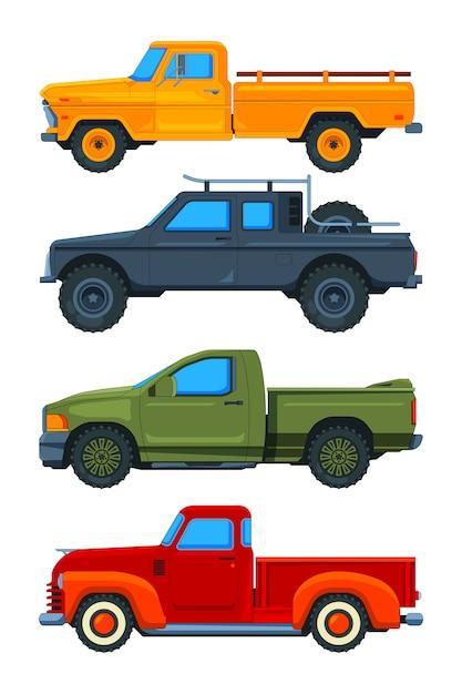 Пикапы. различные виды транспорта Premium векторы
