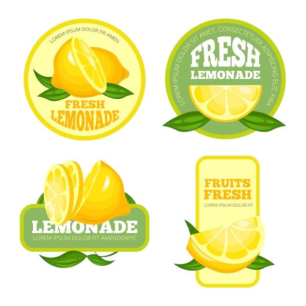 Лимонадные значки. лимонный сок или фруктовый сироп, лимонад, этикетки или логотипы Premium векторы