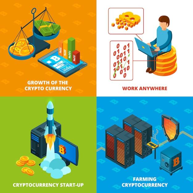 Криптовалютный майнинг. электронные деньги блокчейн исследования изометрических композиций Premium векторы