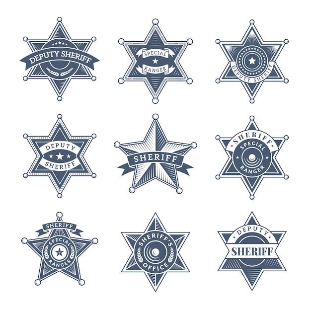 Охранные значки шерифа. полицейский щит и офицеры логотип техасские рейнджеры символы Premium векторы