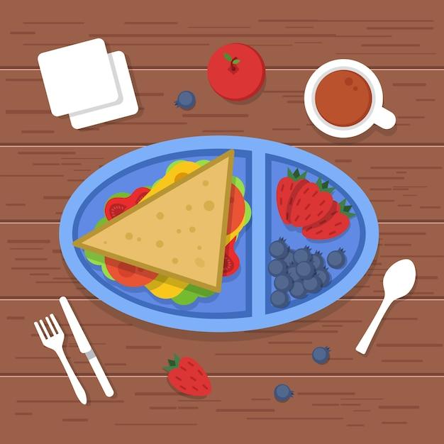 Ланч-бокс на столе. место, чтобы съесть пищу контейнер бутерброды нарезанные свежие здоровые фрукты овощи на ужин завтрак. фотографий Premium векторы
