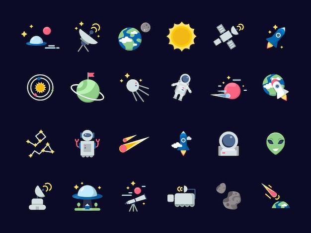 Космические иконки. земля луна с солнцем и спутниками астероидов взгляды из телескопа космических иконок в плоском стиле Premium векторы