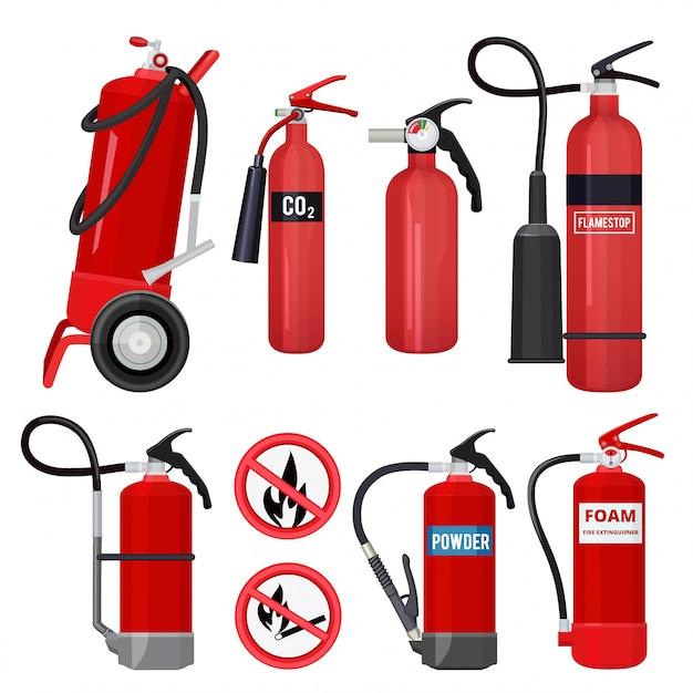 赤い消火器。消防署の炎の注意の色のシンボルの消防士ツール Premiumベクター