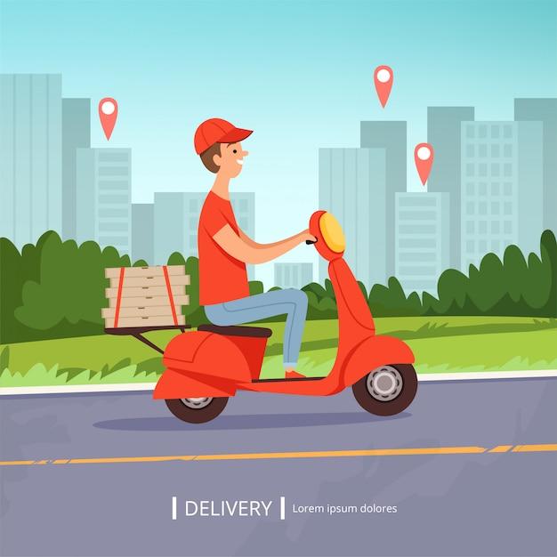 Доставка пиццы фон. свежие продукты быстрой доставки человек красный мотоцикл идеальный бизнес сервис городской пейзаж. рисунок Premium векторы