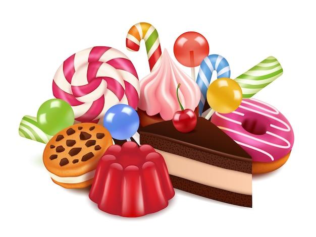デザート自家製ケーキ、チョコレート菓子ロリポップ、お菓子の背景。おいしいデザートの高解像度写真 Premiumベクター