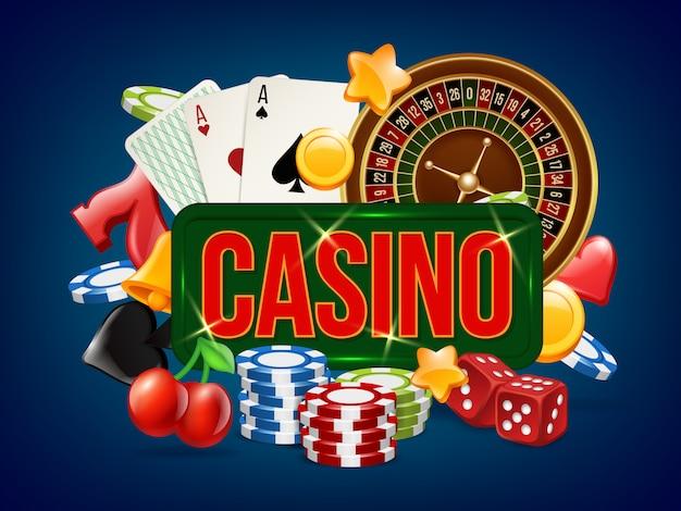 Плакат казино. реклама плаката покер, игра в кости, азартные игры в домино и других игр казино Premium векторы