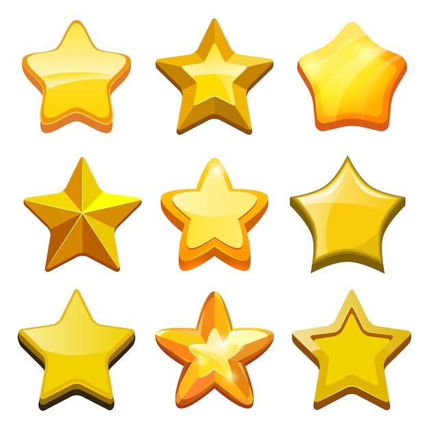 Игра мультипликационных звезд. кристаллические золотые иконки кнопок и строка состояния мобильного игрового шаблона Premium векторы