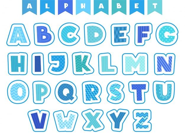 漫画のアルファベット。文字フォントシンボルと数字色の面白い文字分離 Premiumベクター