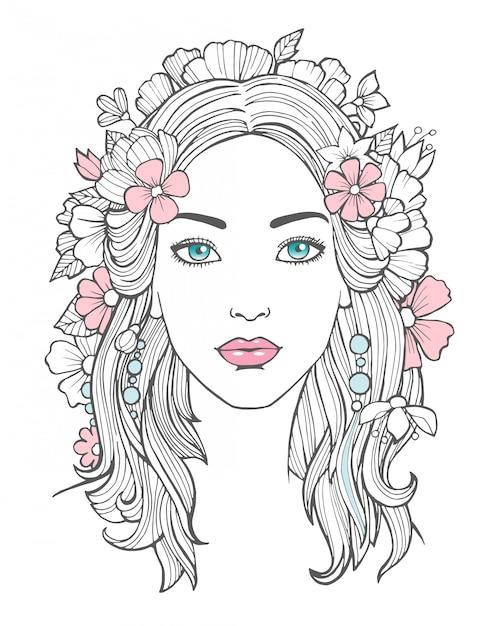 美しい女性の肖像画。髪の芸術の花を持つ神秘的な図面の美しさ若い女性 Premiumベクター