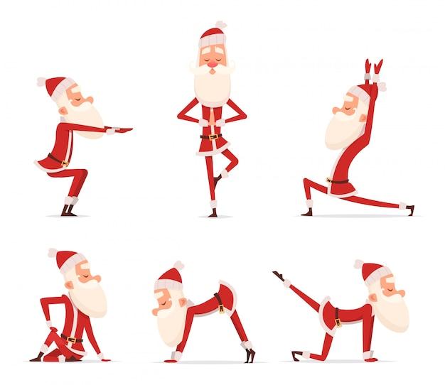 サンタヨガのポーズ、クリスマス冬ホリデースポーツ健康的なキャラクターに立って様々なリラックスポーズかわいいマスコット分離 Premiumベクター