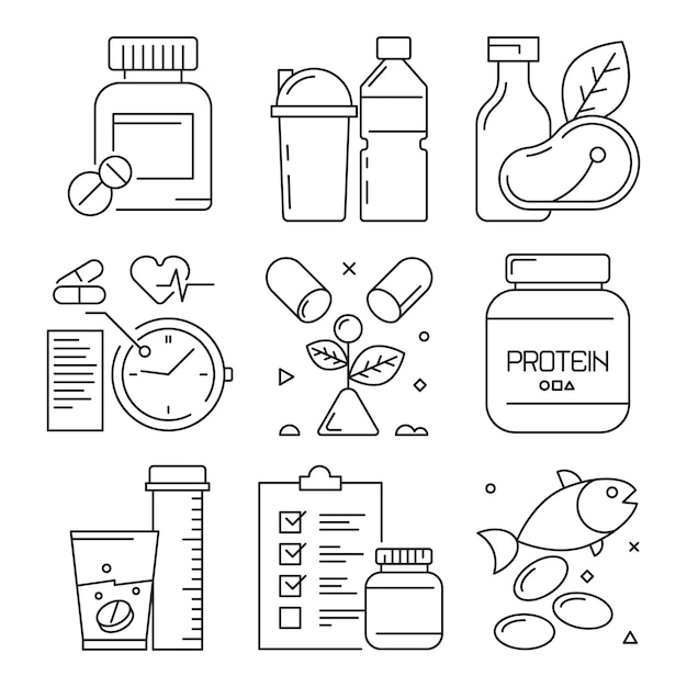 Фитнес диетические иконки, спортивные мероприятия, пищевая добавка, здоровье, витамины, тренажерный зал, хорошо тренировать символы линии Premium векторы