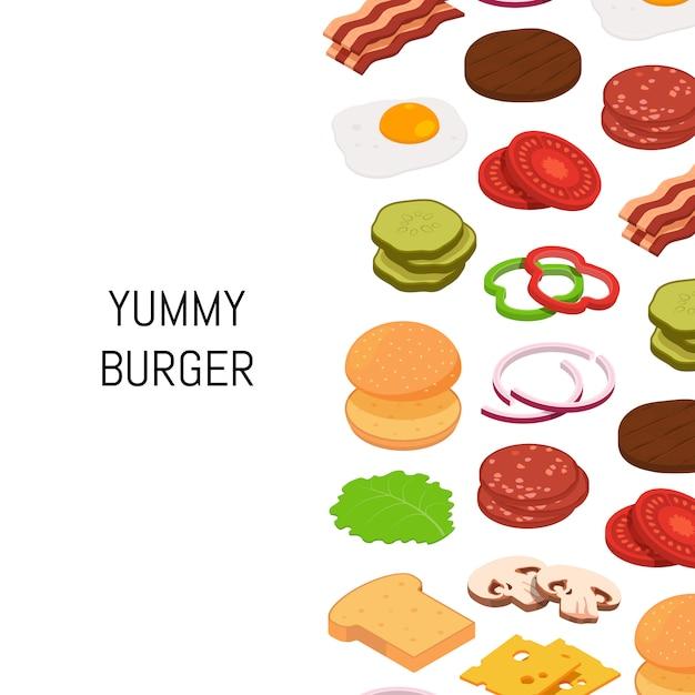 色成分の背景を持つ等尺性ハンバーガー Premiumベクター