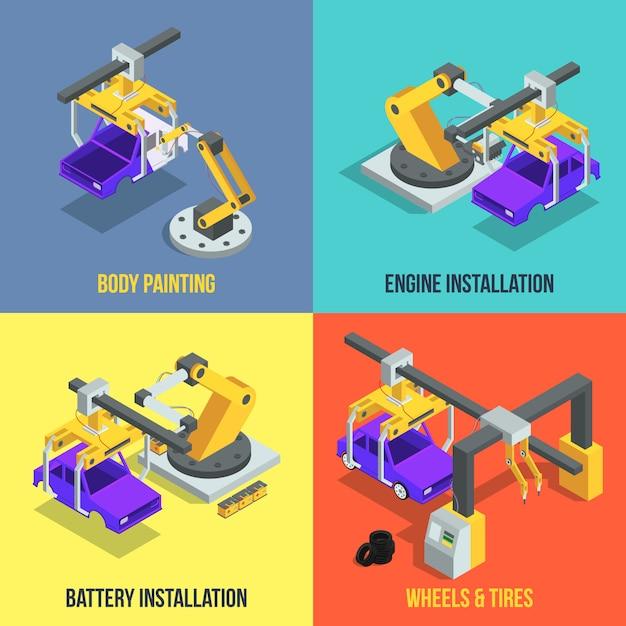 Этапы производства автомобилей. автоматизированная линия машин. промышленные изометрические векторные иллюстрации Premium векторы