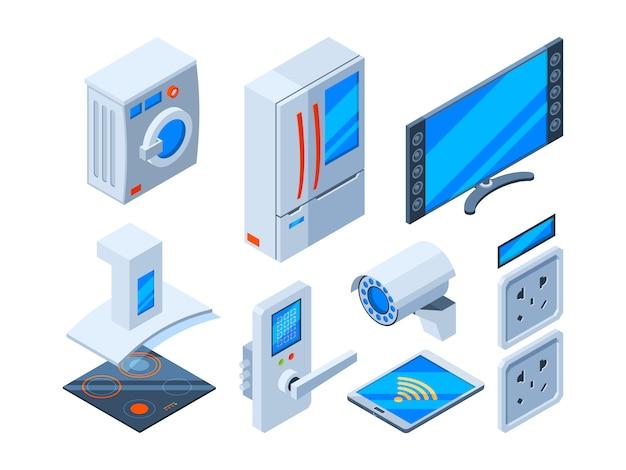 スマートインターネットオブジェクト。家電スピーカースピーカークロックマイクロ波制御未来技術ウェブオブジェクト等尺性 Premiumベクター