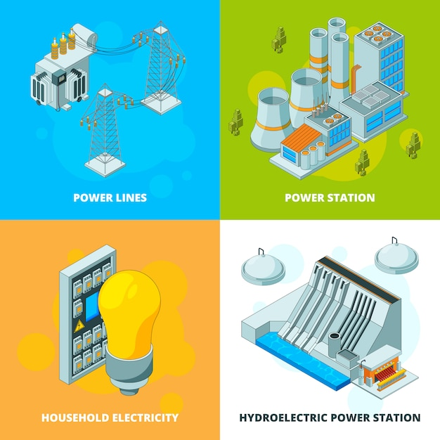 Энергетические станции. электрический символ генератора высоковольтной передачи изометрических картинок Premium векторы