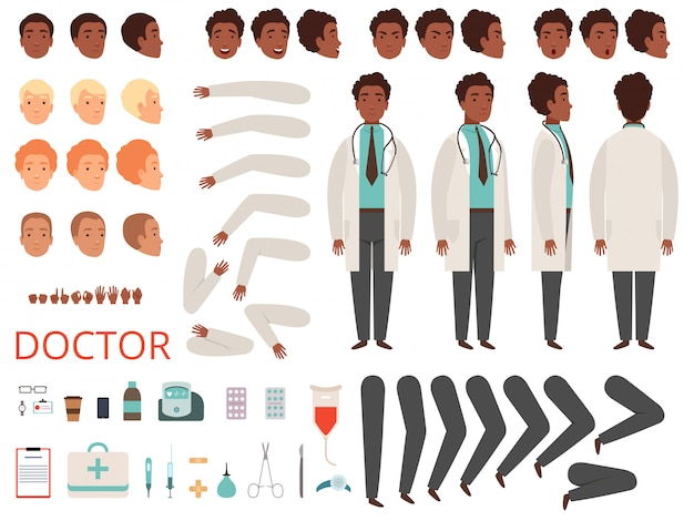 メディックアニメーション。医師キャラクター病院の医療スタッフの体の部分と服の作成キット Premiumベクター