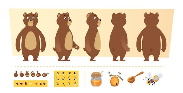 漫画のクマのアニメーション。かわいい野生動物の体の部分と自然アイテムの蜂蜜の木のキャラクター作成キット Premiumベクター