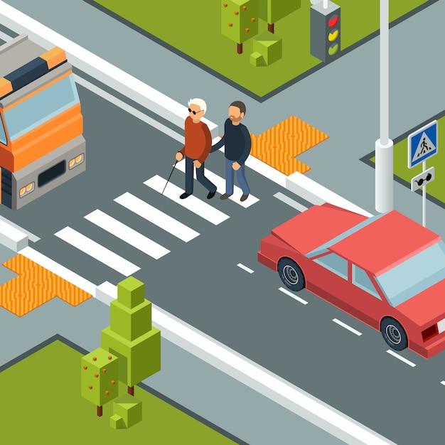 Уход за лицом, пересекающим улицу. городской городской пешеходный переход инвалидов мужчина с помощником изометрии Premium векторы