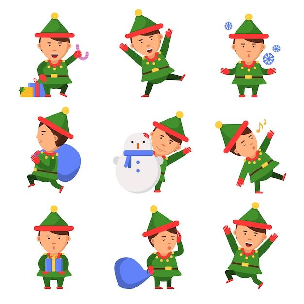 Рождественский эльф. санта помощники гномов в действии ставят забавных персонажей празднование лица детей Premium векторы