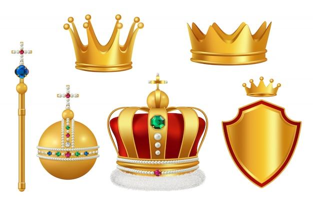 Золотые королевские символы. корона с драгоценными камнями для рыцаря-монарха античная труба средневековый головной убор реалистичный Premium векторы