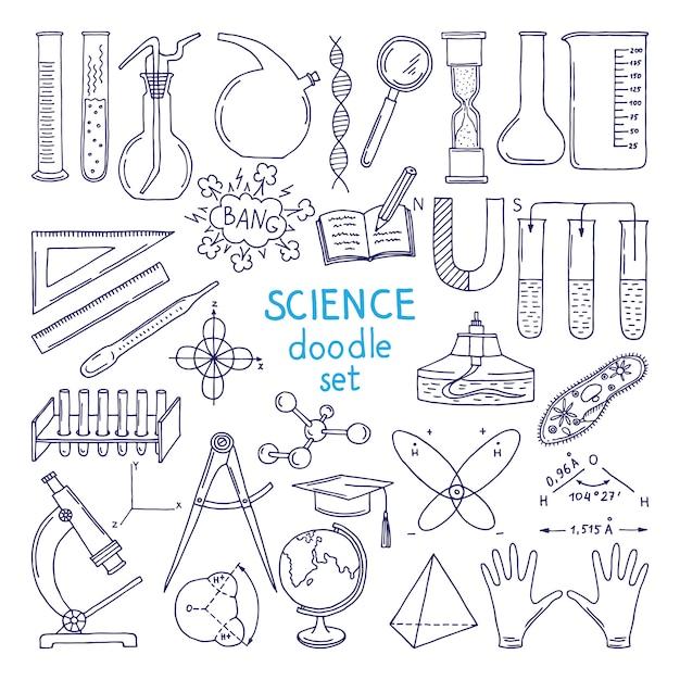 白で隔離科学のツール。技術機器、生物学クラス。手描きイラスト Premiumベクター