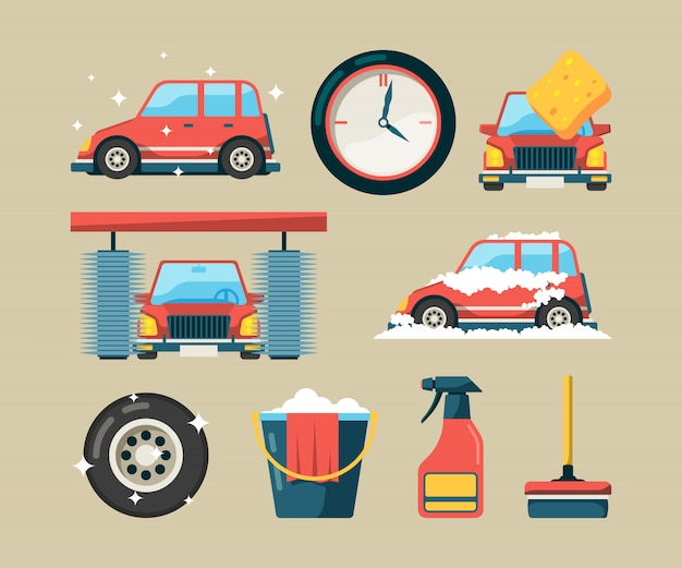 Набор иконок автомойка. стиральные машины с поролоном, чистящие автосервис, изолировали символы мультфильма Premium векторы