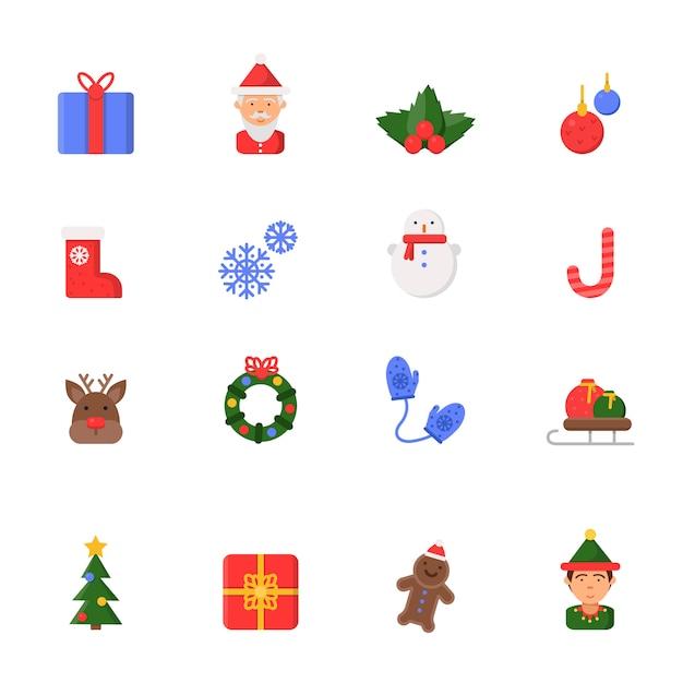Рождественские плоские иконки. зимний праздник символы санта сапоги свечи снеговик колокольчики и елки изолированы Premium векторы
