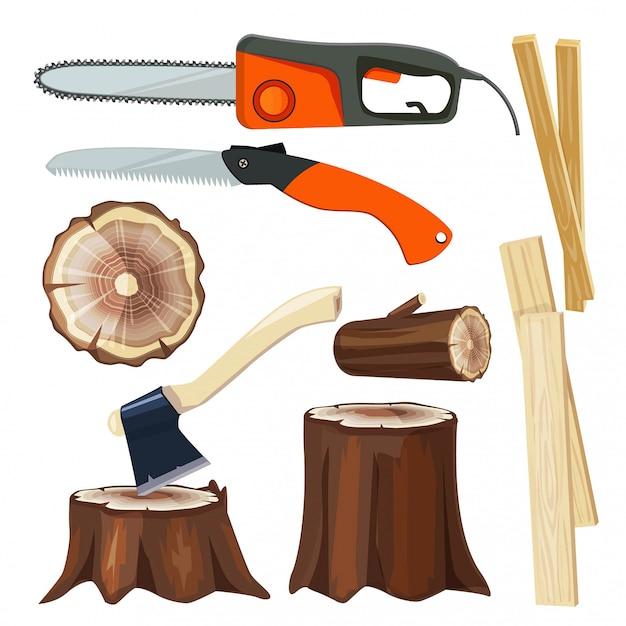 Деревообрабатывающая промышленность. лесная ветвь и стволы лубер коллекция карикатур иллюстрации Premium векторы