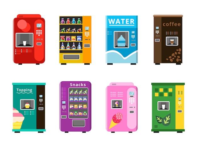 Торговые автоматы. автоматическая продажа продуктов, закусок и напитков, кофе, мороженого и попкорна на плоских иллюстрациях. Premium векторы