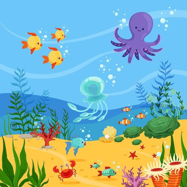 海の動物と水中の背景イラスト Premiumベクター