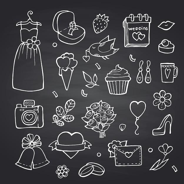 Каракули свадебные элементы на черной доске иллюстрации Premium векторы