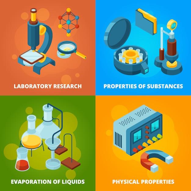 Научное оборудование. химико-испытательная научно-исследовательская лаборатория школьный класс лаборатории изометрических концепт-картинок Premium векторы