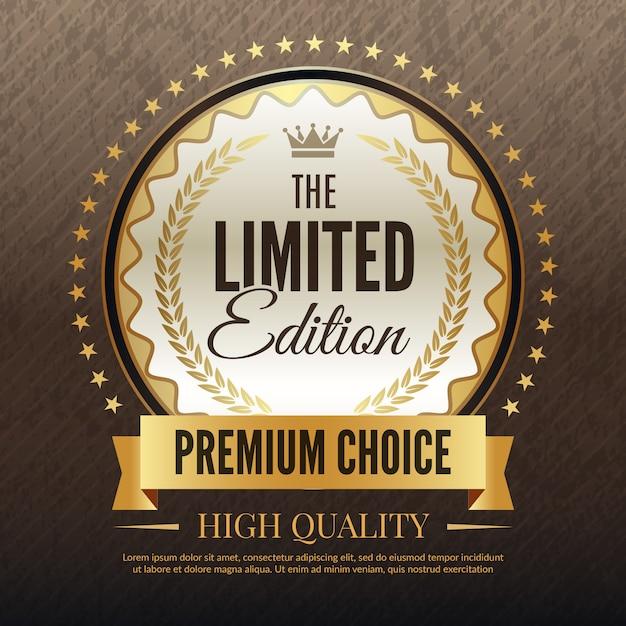 プレミアムゴールデンバナー、高品質のサービスと選択プラカードテンプレートの高級テンプレート Premiumベクター