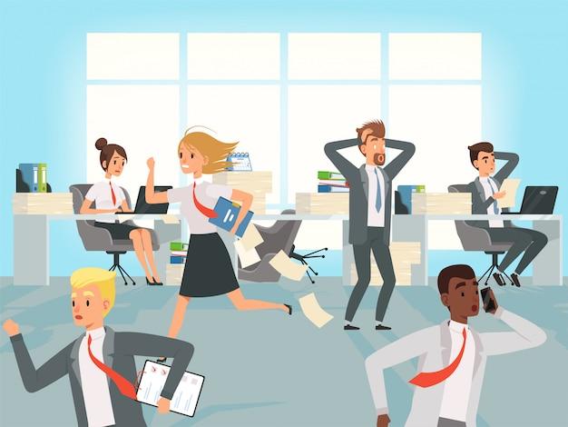 オフィスの締め切り。会社員のマネージャーは、仕事のキャラクターで職場を走ることを強調する Premiumベクター