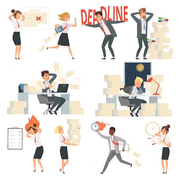 オフィスの人々を強調しました。過労締め切り時間忙しいビジネスマネージャー夜労働者漫画のキャラクター Premiumベクター