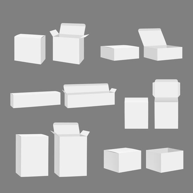 空白のボックス。開いた閉じた段ボール白ギフトパッケージストレージモックアップ現実的なテンプレート分離 Premiumベクター