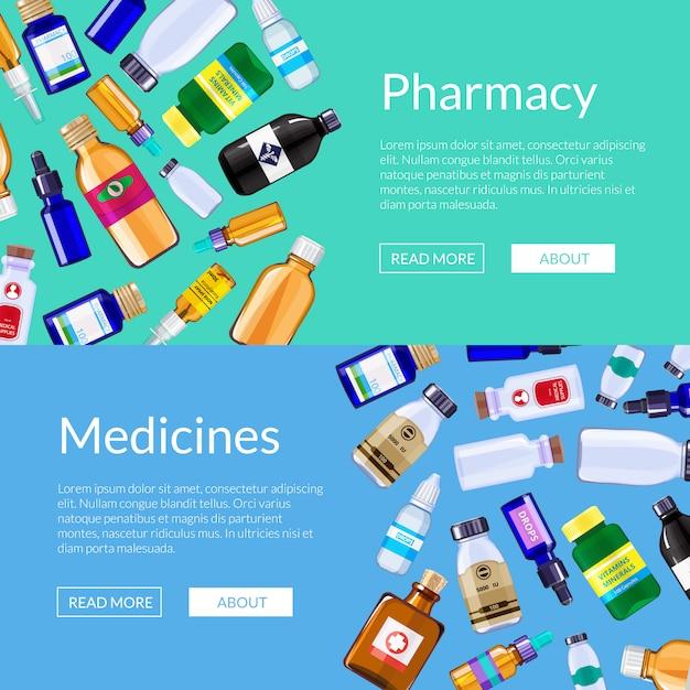 Аптека медицина бутылки веб-баннер шаблоны Premium векторы