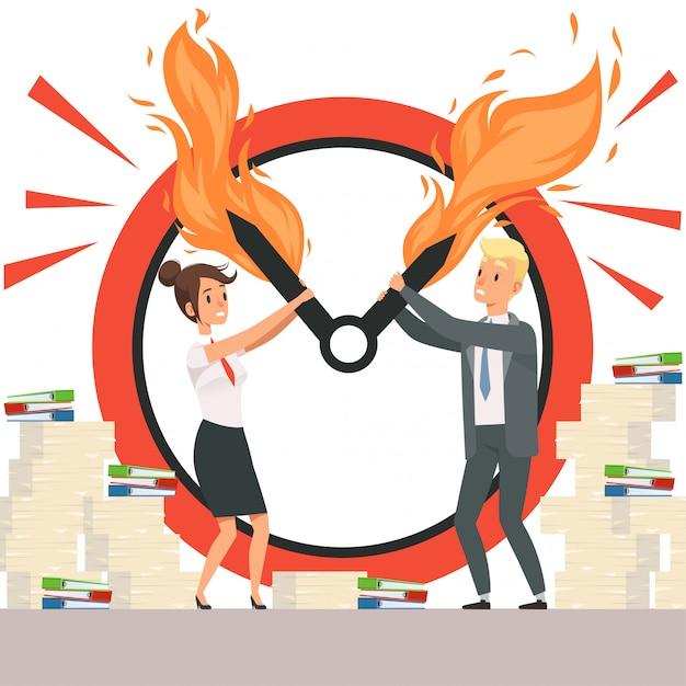 Деловые люди перегружают офисных менеджеров, не могут остановить стрелки часов в огне Premium векторы