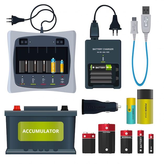 充電式リチウム電池とさまざまな蓄電池は白で隔離されます。 Premiumベクター