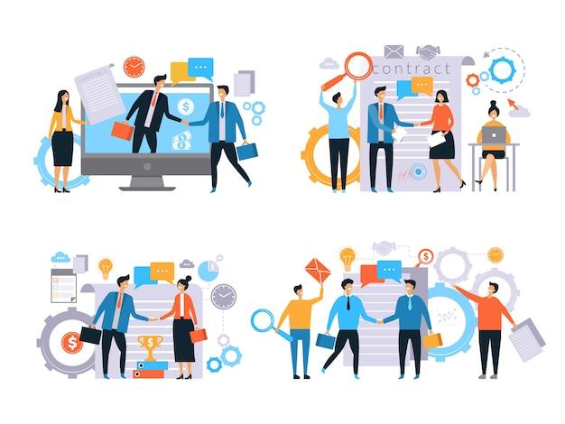 Деловые отношения. инвесторы рукопожатие финансы контракт работа бизнес транзакции менеджеры мужчина женский рабочий плоский Premium векторы