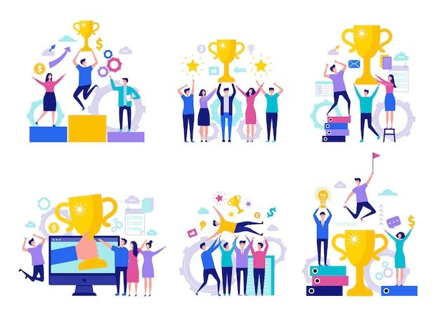 Бизнес-концепция победы. успешный счастливый финансовый директор, выигравший награды команды с кубками персонажей Premium векторы