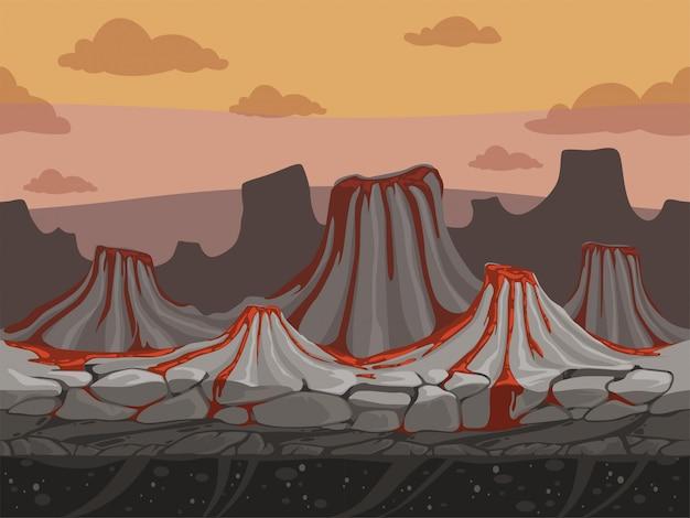 火山のシームレスなゲームの背景。漫画スタイルの石先史時代の屋外風景とロッキーグラウンド Premiumベクター