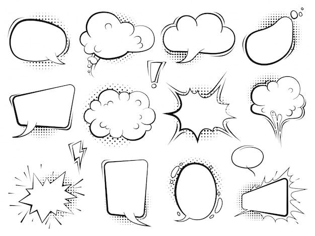 コミックの泡。音声漫画風船は、ハーフトーンでレトロなアートを話します Premiumベクター