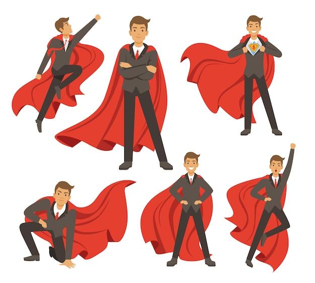 さまざまなアクションスーパーヒーローの強力な実業家がポーズします。 Premiumベクター