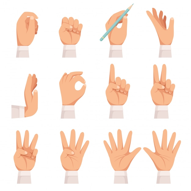 手ジェスチャーセット。人間の手のひらと指のタッチを示すポインティングと保持分離ベクトル漫画コレクションを表示 Premiumベクター