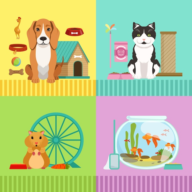さまざまなペットの概念図。犬、猫、ハムスター、魚 Premiumベクター