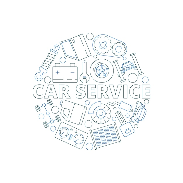 Авто сервис фон. механические автомобильные детали в форме круга, стартер, мотор-редуктор, гараж Premium векторы