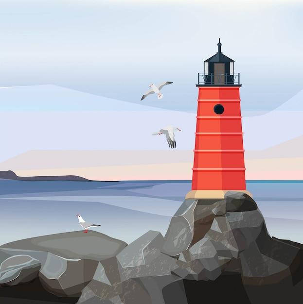 海の風景の灯台。岩の漫画の上の夜のナビゲーション安全建物と海または海の水 Premiumベクター